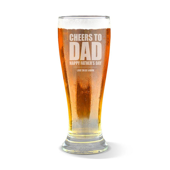 Cheers to Dad Premium 425ml Beer Glass