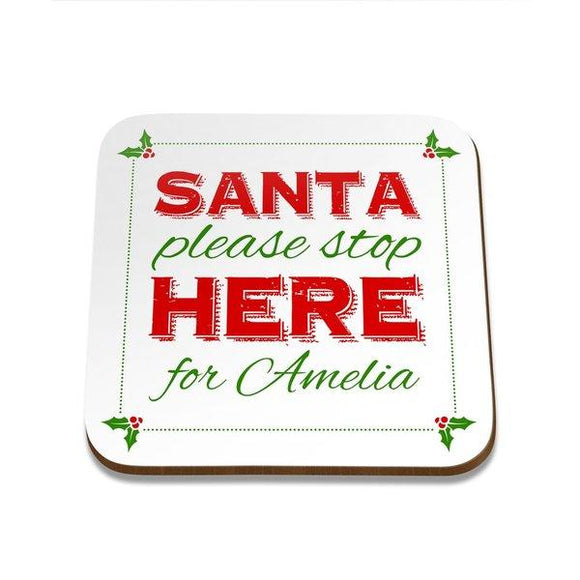 Santa Stop Square Coaster - Single