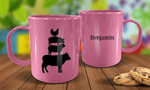 Farm Animals Plastic Mug - Pink