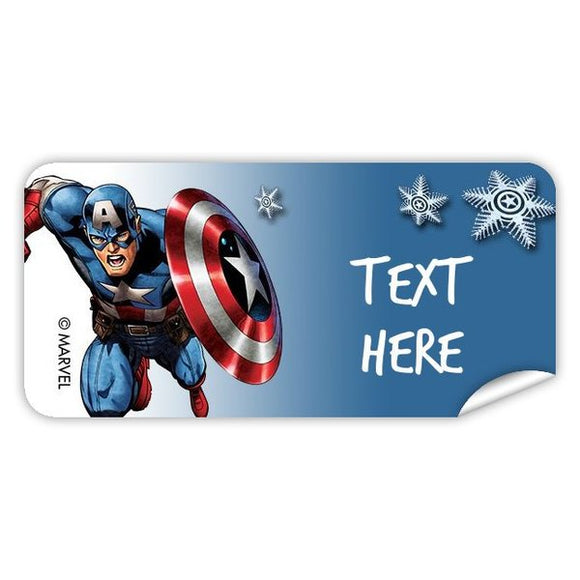 Captain America Christmas Rectangle Labels 48pk
