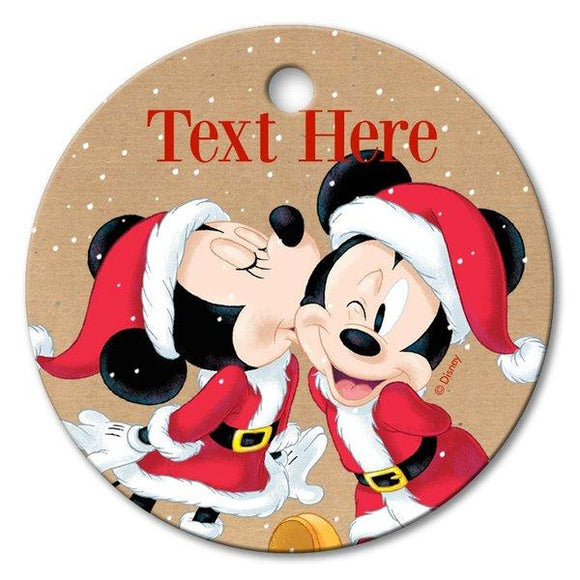 Mickey & Minnie Santa Round Porcelain Ornament