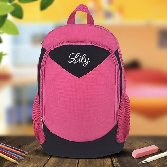 Pink Embroidered Backpack - Large
