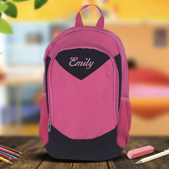 Pink Embroidered Backpack - Medium