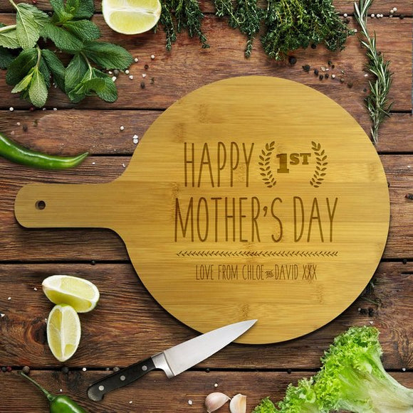 1st Mother's Day Round Bamboo Serving Board