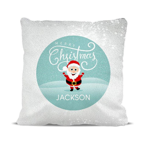 Jolly Santa Magic Sequin Cushion Cover
