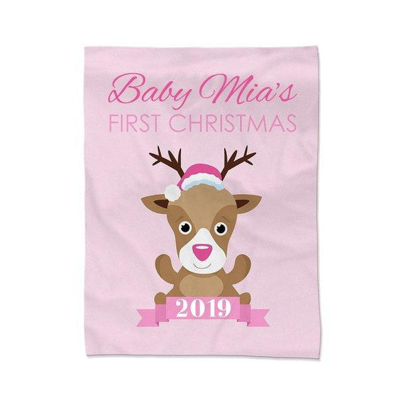 Pink First Christmas Blanket - Large