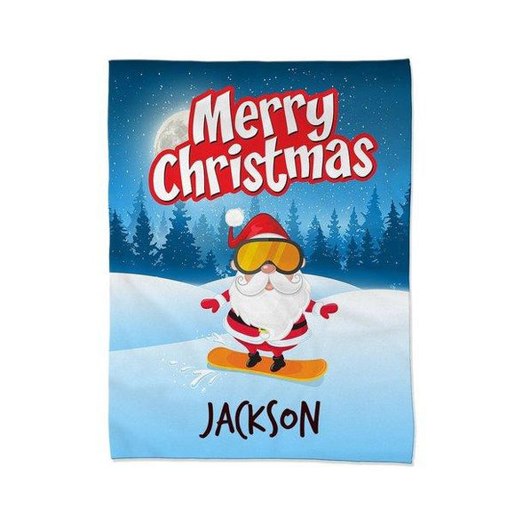 Santa Snowboarding Blanket - Medium