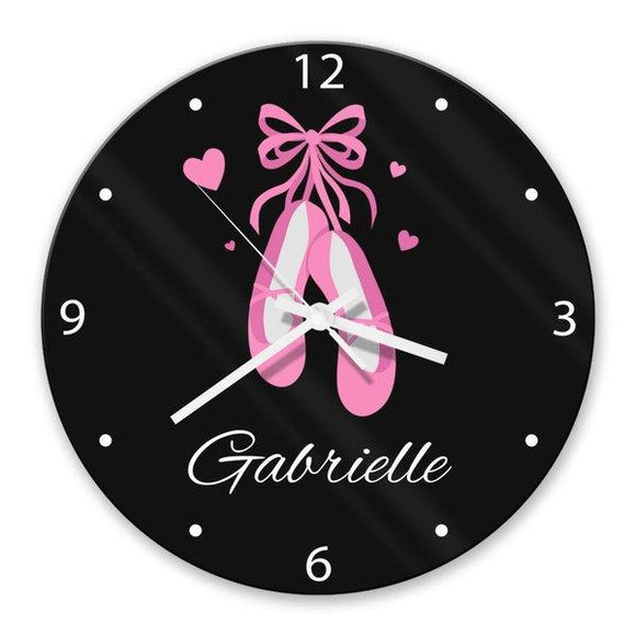 Ballet Shoes Glass Clock