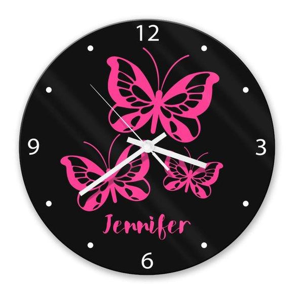 Butterflies Glass Clock