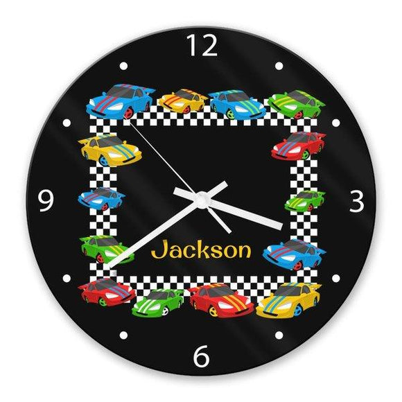 Race Cars Glass Clock