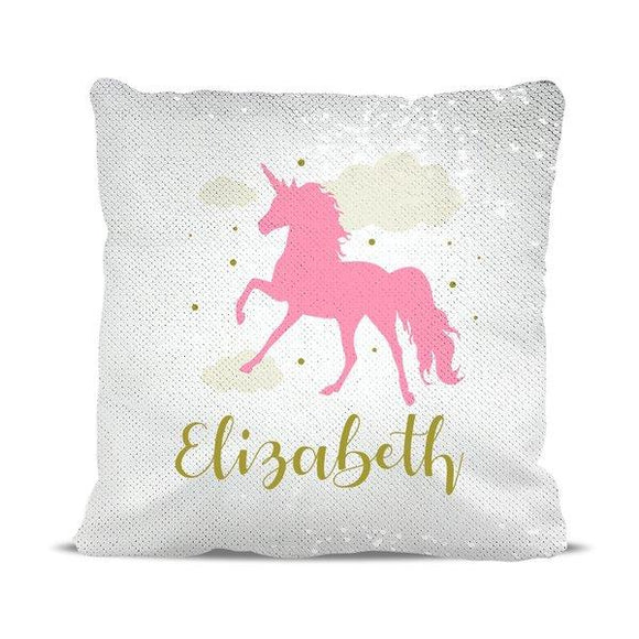 Pink Unicorn Magic Sequin Cushion Cover