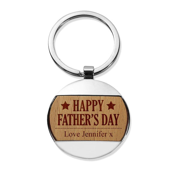 Happy Father's Day Round Metal Keyring