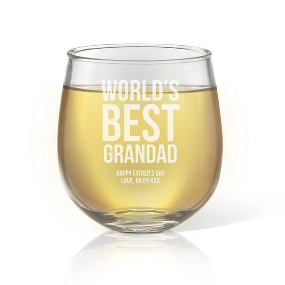 Best Grandad Stemless Wine Glass