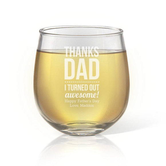 Thanks Dad Stemless Wine Glass