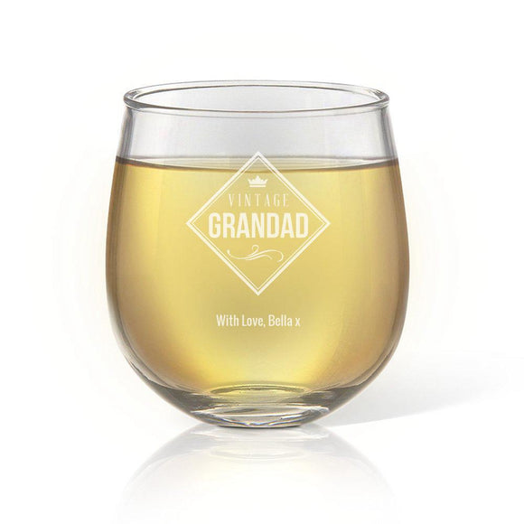 Vintage Stemless Wine Glass