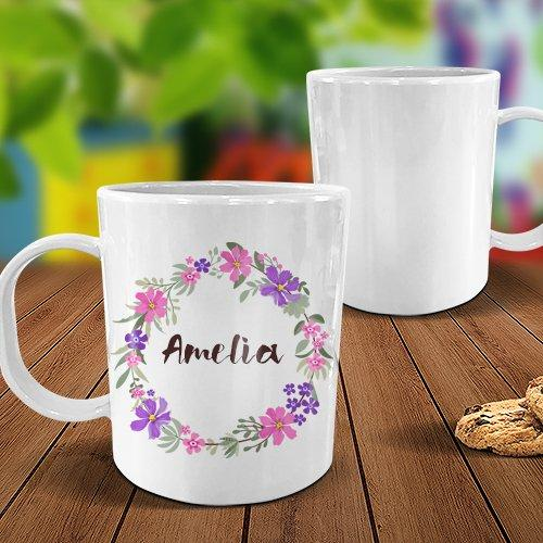 Flower Wreath White Plastic Mug