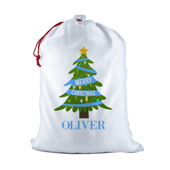 Blue Christmas White Santa Sack