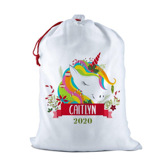 Colourful Unicorn White Santa Sack