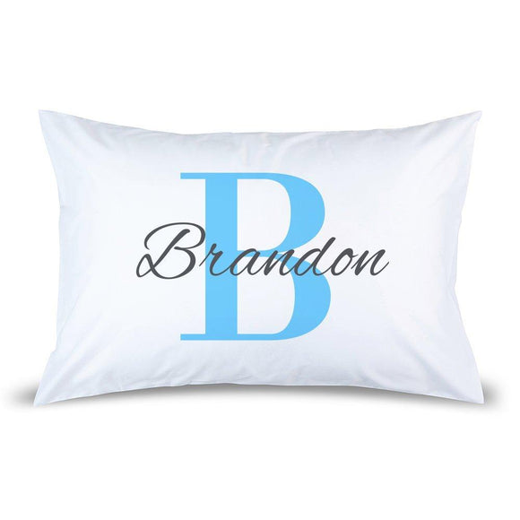 Blue Monogram Pillow Case