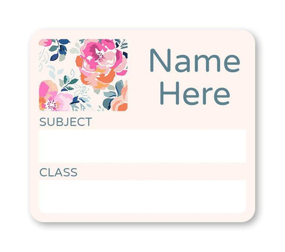 Flowers School Book Label