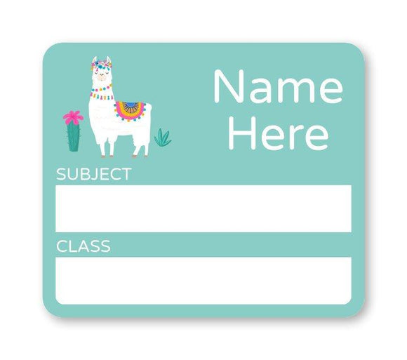 Llama School Book Label