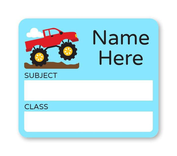 Monster Truck School Book Label