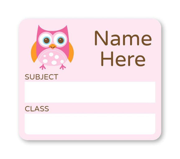 Owl School Book Label