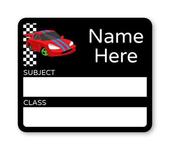 Race Car School Book Label