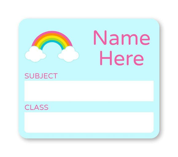 Rainbow School Book Label