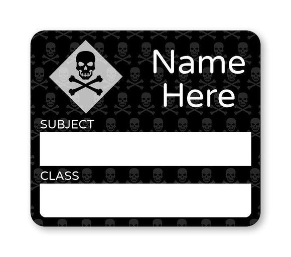 Skulls School Book Label