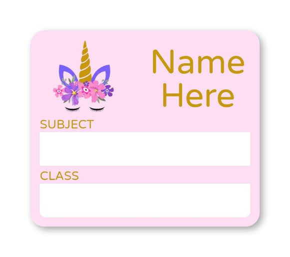 Unicorn School Book Label
