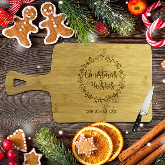 Christmas Wishes Rectangle Bamboo Serving Board