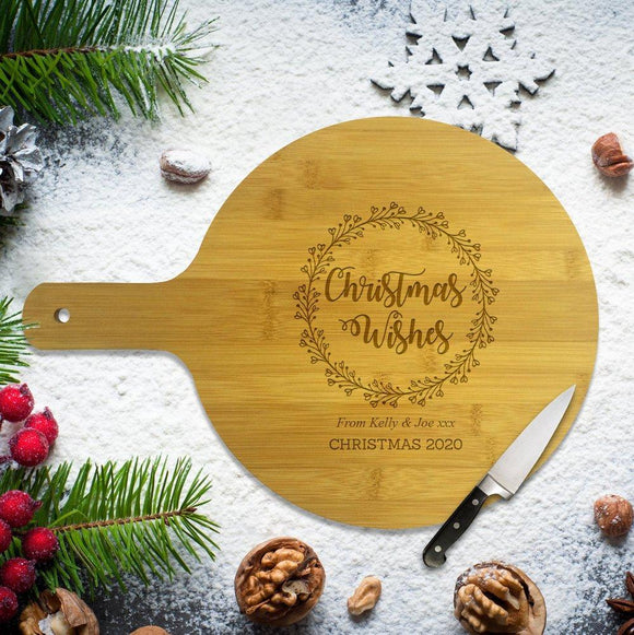 Christmas Wishes Round Bamboo Serving Board