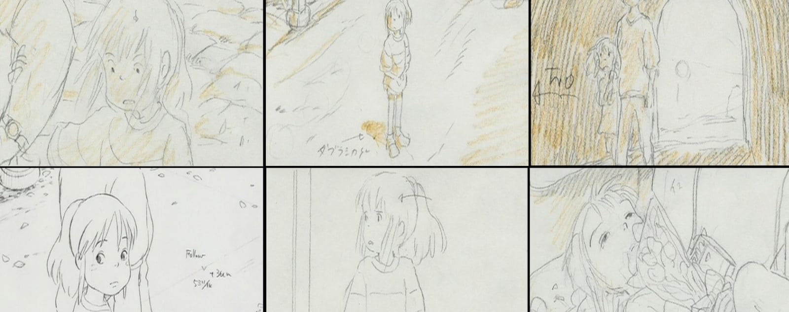 story board spirited away film d'animation japonais