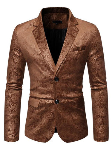 Men's Embossed Long Sleeve Casual Blazer