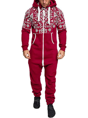 3 Colors Print Zipper Men's Winter Hooded Jumpsuits