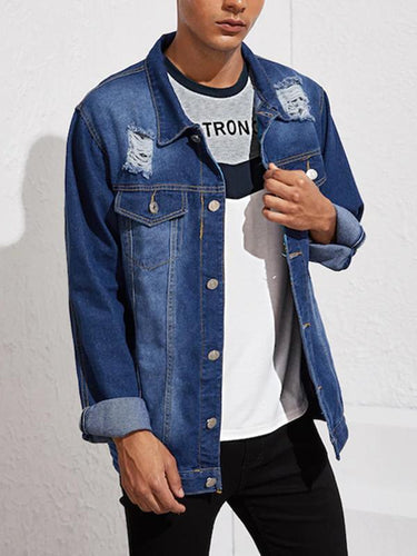 2 Colors Ripped Long Sleeve Buttons Leisure Denim Jacket