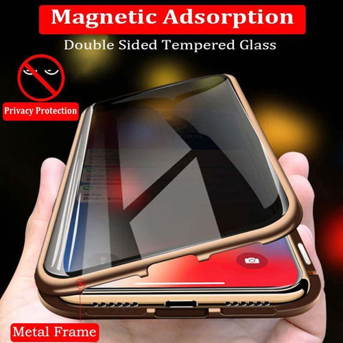 Anti-peeping Privacy Magnetic Double Side Tempered Glass Case For iphone XS MAX XS X XR