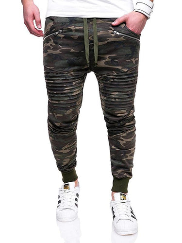 3 Colors Camouflage Zipper Pleated Men's Track Pants