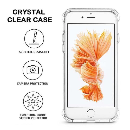 Crystal Transparent Tempered Glass Case For iphone XS MAX XS X XR 8plus 8 7plus 7