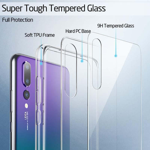 Crystal Transparent Tempered Glass Case For Huawei P20 P20Pro P20lite