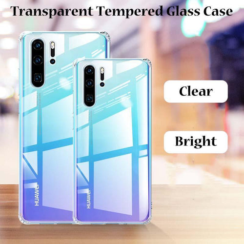 Crystal Transparent Tempered Glass Case For Huawei P30 P30Pro P30lite