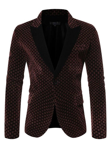 Color-block Lapel Long Sleeve Men's Winter Blazer
