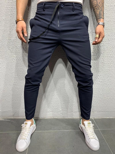 3 Colors Zipper High Waist Men's Leisure Solid Pants