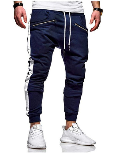5 Colors Zipper Pockets Side Stripes Color-block Track Pants
