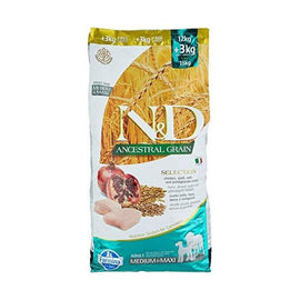Farmina N&D Adult Medium e Maxi Low Grain, Pollo e Melograno, 12+3 kg - Amici e Natura iTALIA