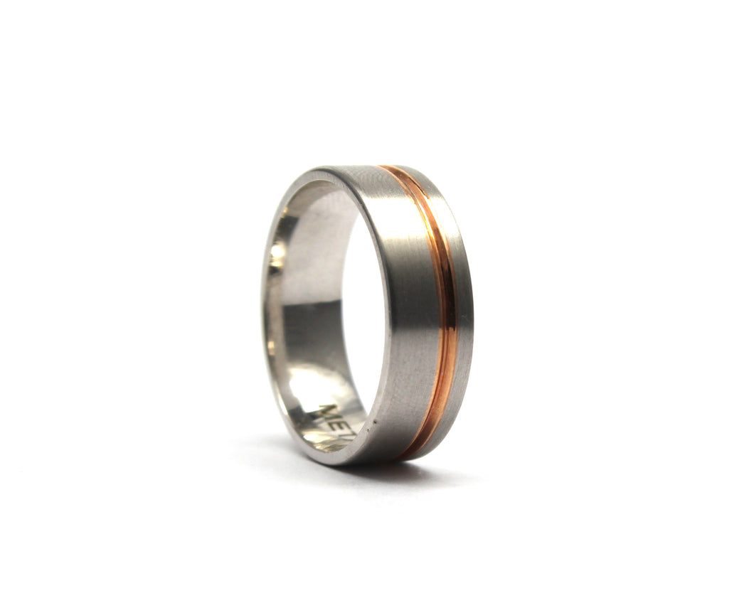 9ct white and rose gold band