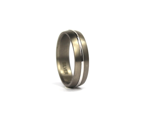 Titanium and 9ct white gold band