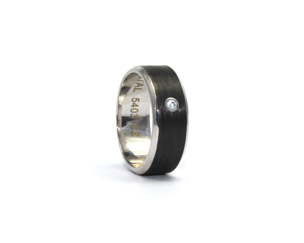 9ct white gold and carbon fibre Band with single diamond