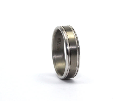 9ct white gold and titanium ring
